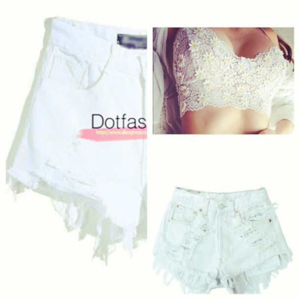 High waisted shorts top daisy crop tops