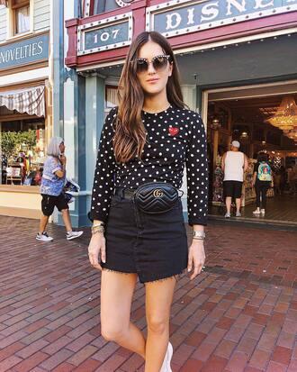 skirt top polka dots top bag gucci bag black denim skirt watch sunglasses