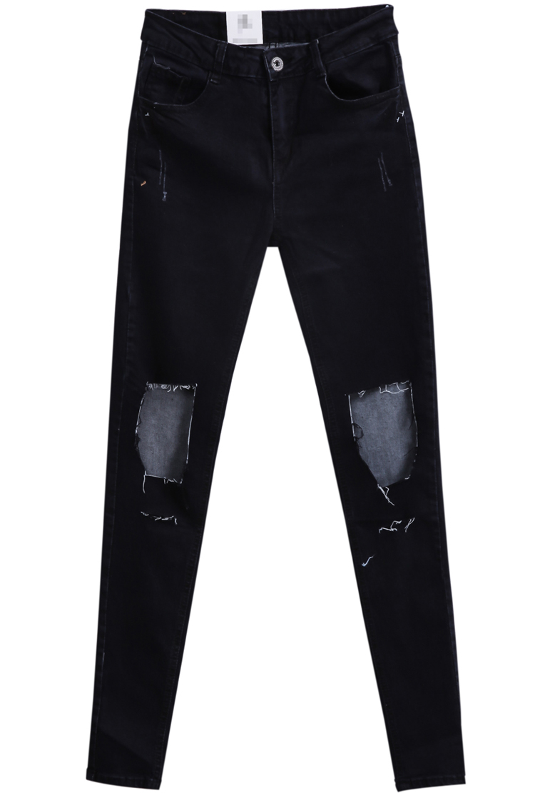 Black Ripped Slim Denim Pant - Sheinside.com