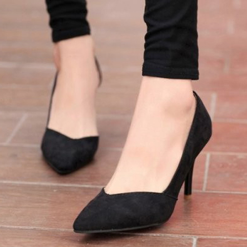 Fashion pointed closed toe stiletto high heel black suede d'orsay pumps