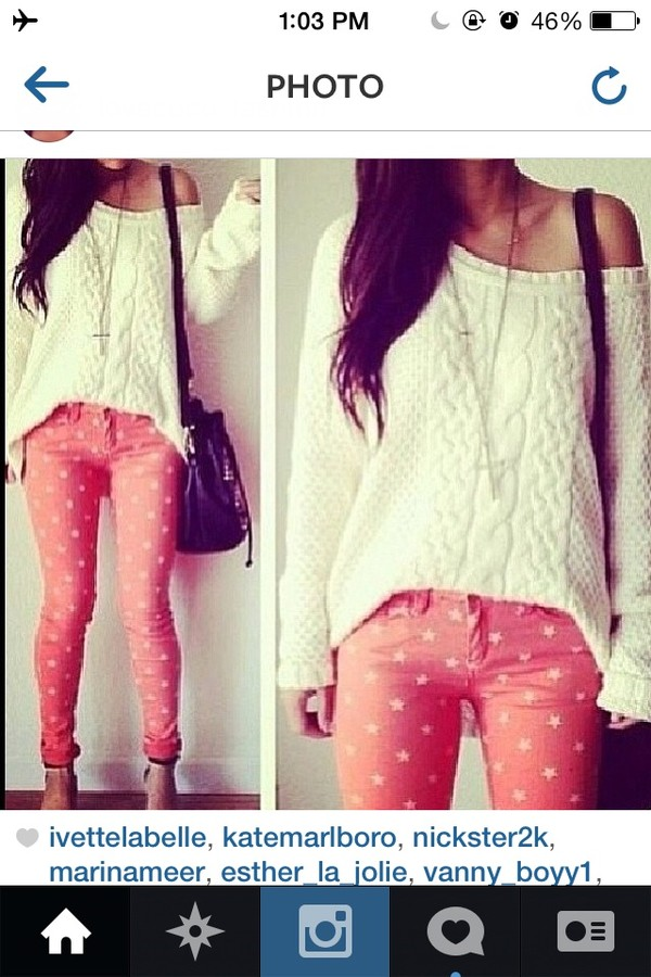 pants pink polka dots cute girly sweater jeans pink jeans pink pants