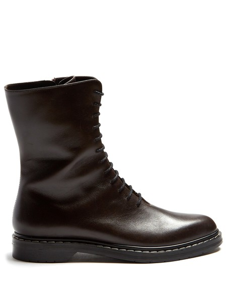 The Row leather ankle boots ankle boots lace leather black shoes