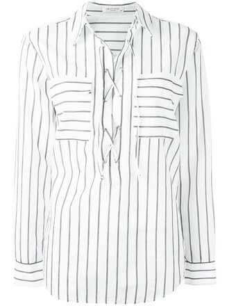 shirt striped shirt women lace white cotton top