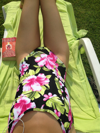 swimwear summer bikini floral hawaiian print one piece