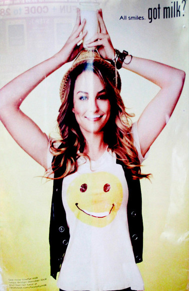 smiley face smiley t-shirt tank top good luck charlie got milk disney bridget mendler vest