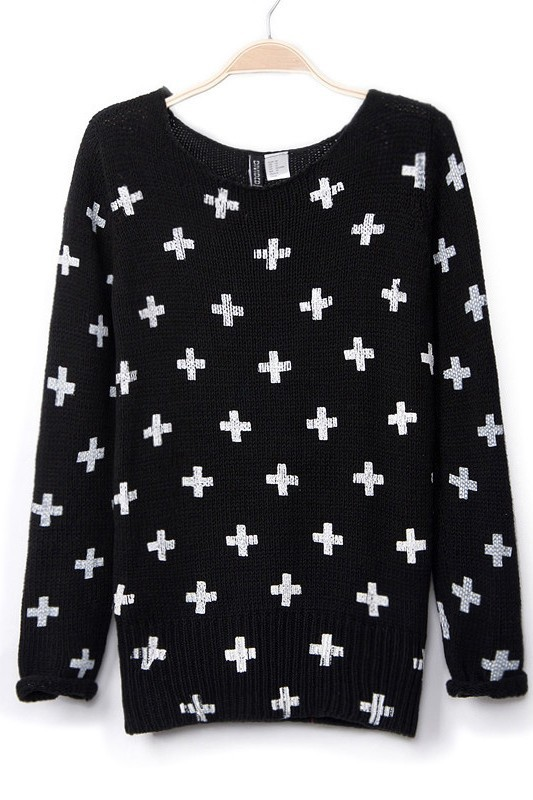 Cross Printing Sweater-in Pullovers from Apparel & Accessories on Aliexpress.com