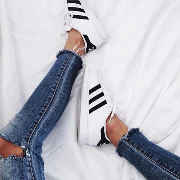 jeans ripped jeans tumblr adidas tan white shoes black and white