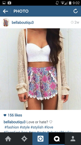 floral shorts colorful comfortable cardigan