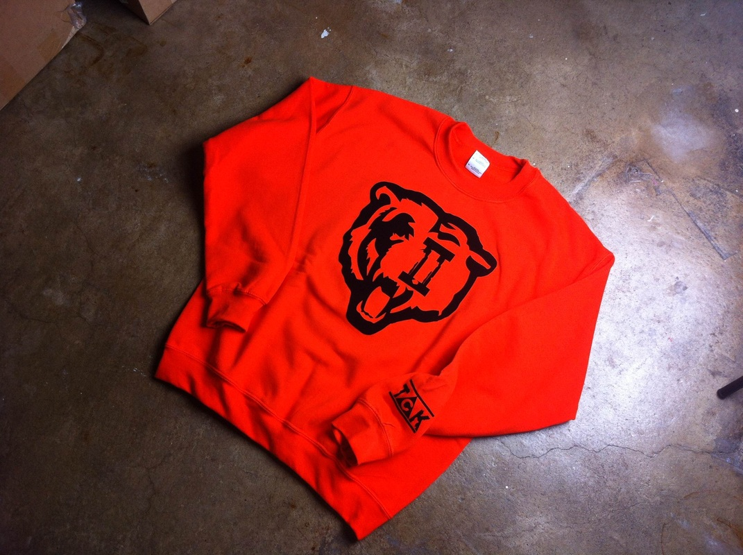 Orange/Black Men *Bears* Crewneck Sweatshirt