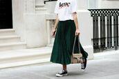 skirt,tumblr,green skirt,pleated skirt,pleated,sneakers,black sneakers,low top sneakers,black converse,converse,t-shirt,white t-shirt,bag,gucci,gucci bag,dionysus,logo tee