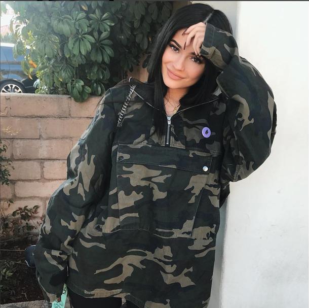 jacket camo jacket kylie jenner windbreaker