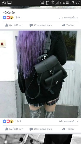 bag black pastel goth goth tumblr purple grunge