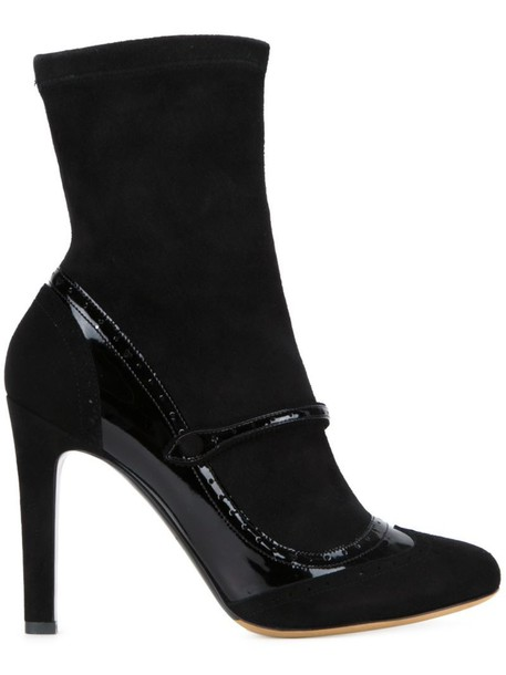 tabitha simmons women boots leather suede black shoes
