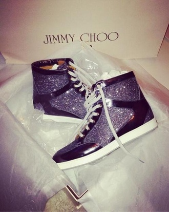 shoes purple jimmy choo high top sneakers sparkle