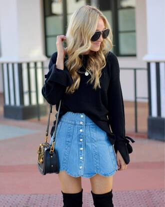 skirt black sweater tumblr scalloped mini skirt denim denim skirt sweater bag black bag sunglasses