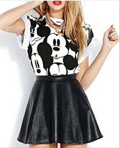 skirt,outfit,outfit idea,summer outfits,spring outfits,cute outfits,date outfit,party outfits,streetstyle,streetwear,clubwear,trendy,clothes,style,stylish,fashion,mickey mouse,top,white top,summer top,cute top,black and white,black skirt,black leather skirt,skater skirt,leather skirt,high waisted skirt,earrings,hoop earrings,gold earrings,accessories,jewelry,jewels,gold jewelry,red lipstick,lipstick,short sleeve
