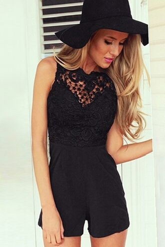 romper zaful jumpsuit black playsuit lace hollow cut-out top bottoms clothes dress skirt hat accessories summer beautiful fashion blogger girl outfit sexy cute