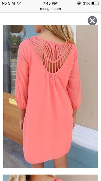 dress cute summer dress cute dress pink dress short dress long sleeve dress pretty girly girl coral coral dress