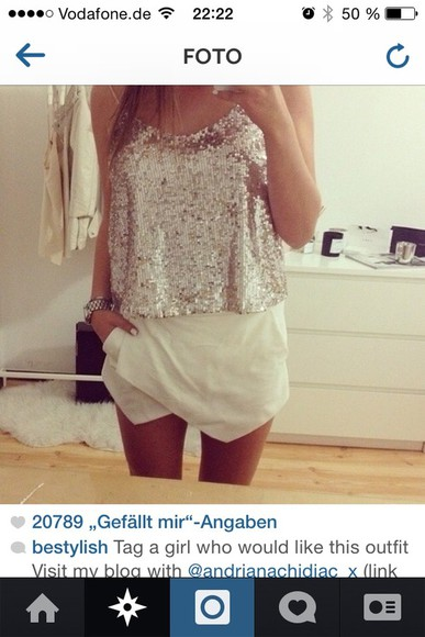 gold glitter shirt silver top shorts