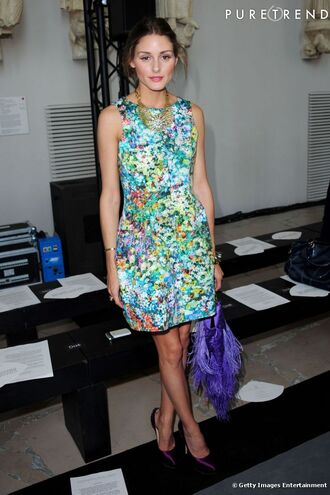 print floral olivia palermo blue dress purple dress yellow dress orange dress white dress dress