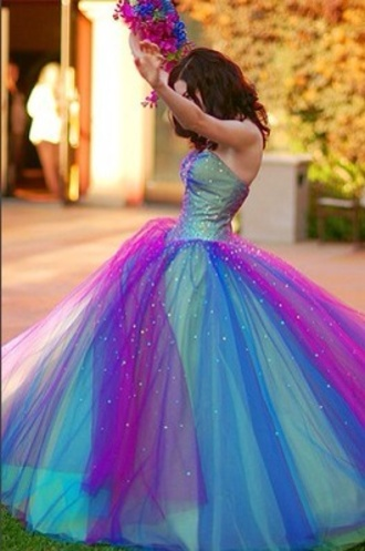 dress blue dress green dress blue purple sweet 16 rainbow colorful wedding dress wedding clothes wedding prom dress prom puffy puff formal event outfit graduation dresses fit for prom/graduation party princess dress