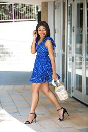 jadore-fashion,blogger,dress,shoes,bag,bucket bag,high heel sandals,blue dress,mini dress,fall outfits