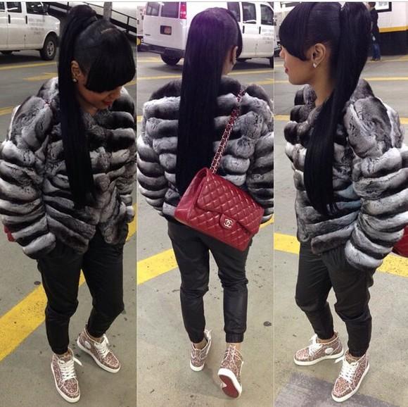 fur fur coat bag jacket shoes sneakers chanel bag ponytail