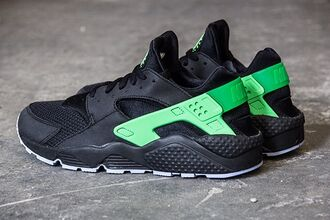 shoes black and green kicks nike shoes huarache