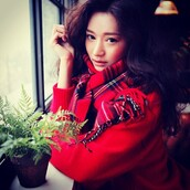 sweater,stylenanda,plaid,red,scarf,flannel scarf