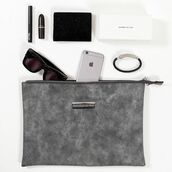 bag,maniere de voir,clutch,suede,grey,pockets,zipped,minimalist