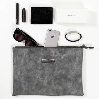 bag maniere de voir clutch suede grey pockets zipped minimalist
