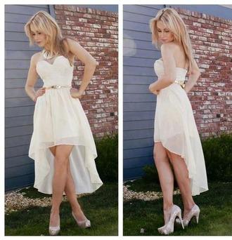 dress white dress high low dress gold belt