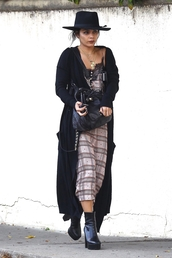dress,plaid,vanessa hudgens,celebrity,coat,hat