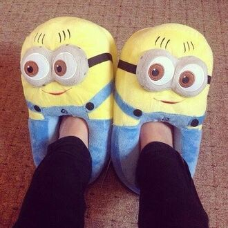 shorts shoes women slippers minions cute fluffy slippers yellow blue movie