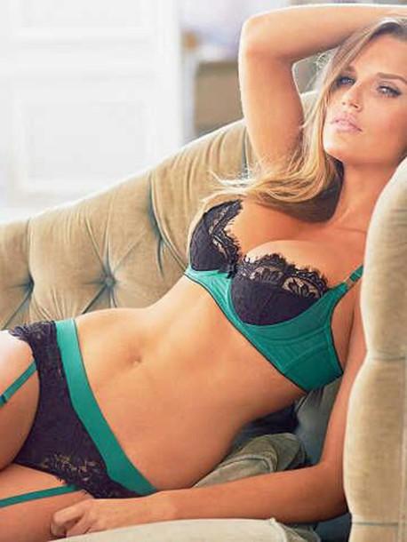underwear bra panties teal black lace lingerie suspenders sexy