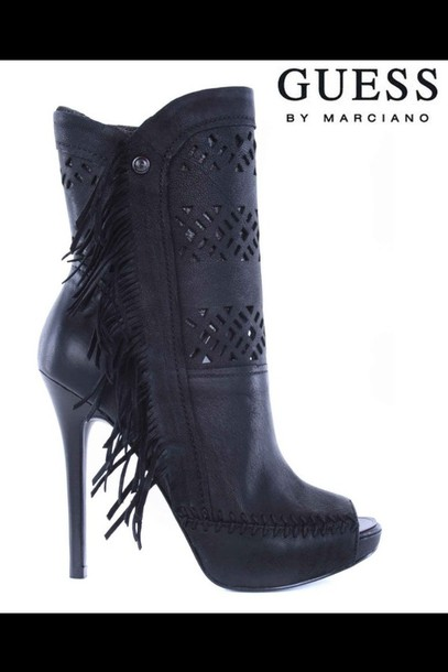 afa309f4d3 shoes, fringes, black, boots, guess, sexy, peep toe, high heels ...