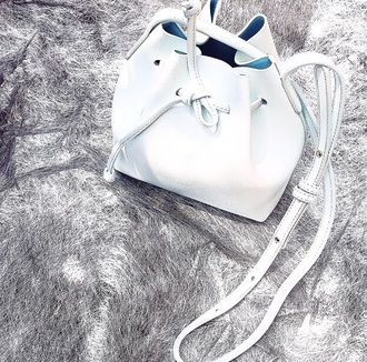 bag white white bag white leather bag leather bag bucket bag handbag purse fashion style