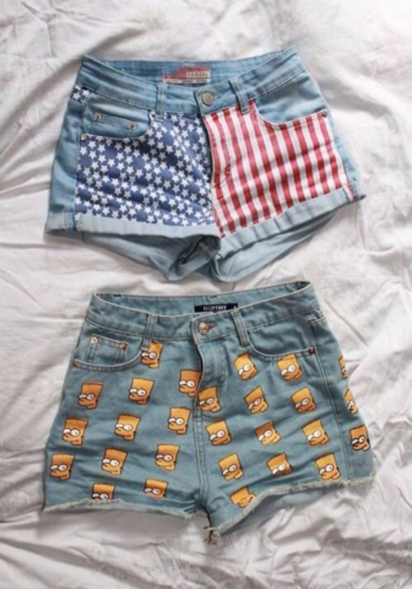 shorts denim denim shorts america american the simpsons bart simpson yellow red white blue american flag shorts american flag