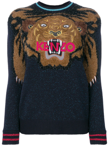 Kenzo jumper embroidered women tiger blue wool sweater