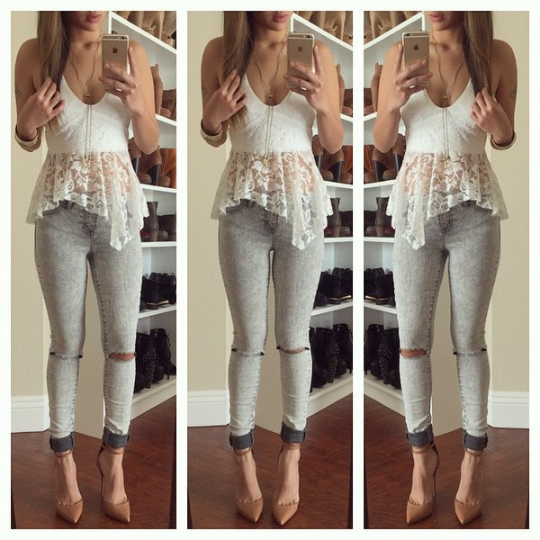 shirt white lace white top white lace top lace top lace cami tank top v neck v neck white crop tops white t-shirt white shirt white tank top white blouse blouse lace shirt peplum top jeans blue jeans top dress style grey jeans skinny jeans nude sandals high heel sandals