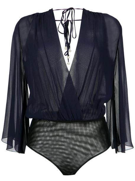 Nk bodysuit long women blue silk underwear