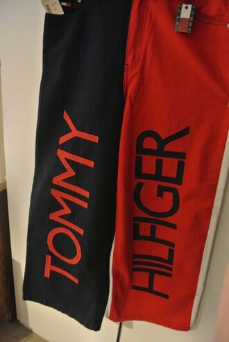 tommy hilfiger jeans oversized baggy hip hop r&b vintage 90s style red blue white