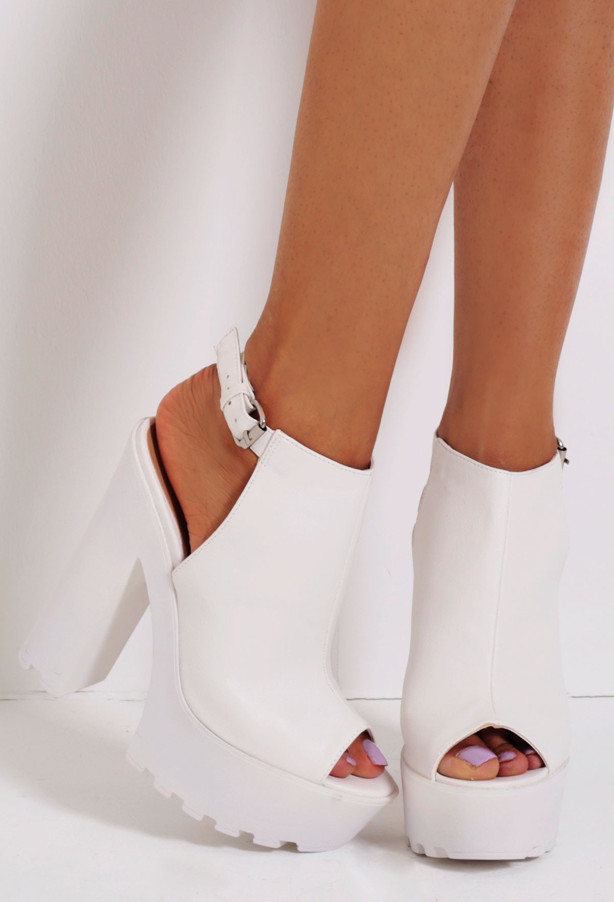Chalk white patent slingback tractor sole platform shoes