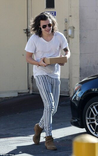 pants stripes harry styles t-shirt striped pants