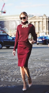 sweater,olivia palermo,fashion week 2014,skirt,pencil skirt,jewels,necklace,breakfastwithaudrey,blogger,dress,sunglasses,bag,clutch,metallic clutch,silver clutch,burgundy skirt,top,burgundy top,turtleneck,statement necklace,black sunglasses,pointed toe pumps,pumps,white pumps,fall outfits