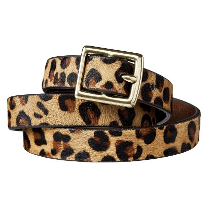 Merona® Leopard Print Calf Hair Belt - Brown/Tan