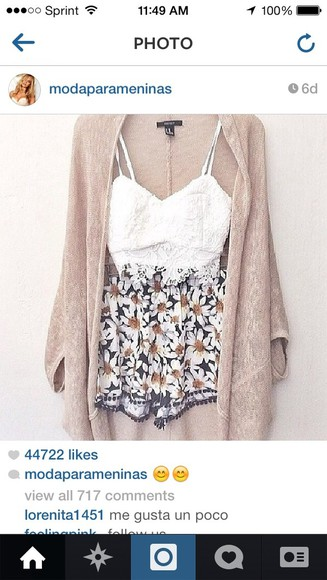shorts sweater tank top flowers style
