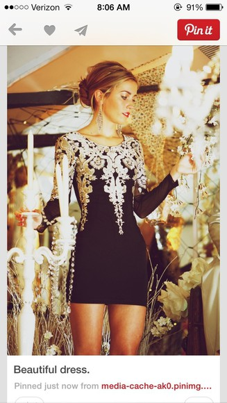dress embellished longsleeve longsleeves party elegant little black dress black bodycon dress size 4 white silver mini dressy black dress