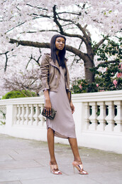 shoes,grey dress,green leather jacket,pink mules,rose gold,blogger