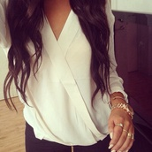 shirt,white vneck,jewels,white top,loose t-shirt,blouse,white,chemise,cute,classy,chiffon,white blouse,white shirt,v neck,deep v,cross shirt,luxury,luxury shirts,chiffon blouse,chiffon shirt,wrap,white summer top,wrap top,white t-shirt,wrap blouse,solid blouse,bracelets,gold,silver,long hair,beautiful girl,jewelry,gold jewelry,plunge v neck
